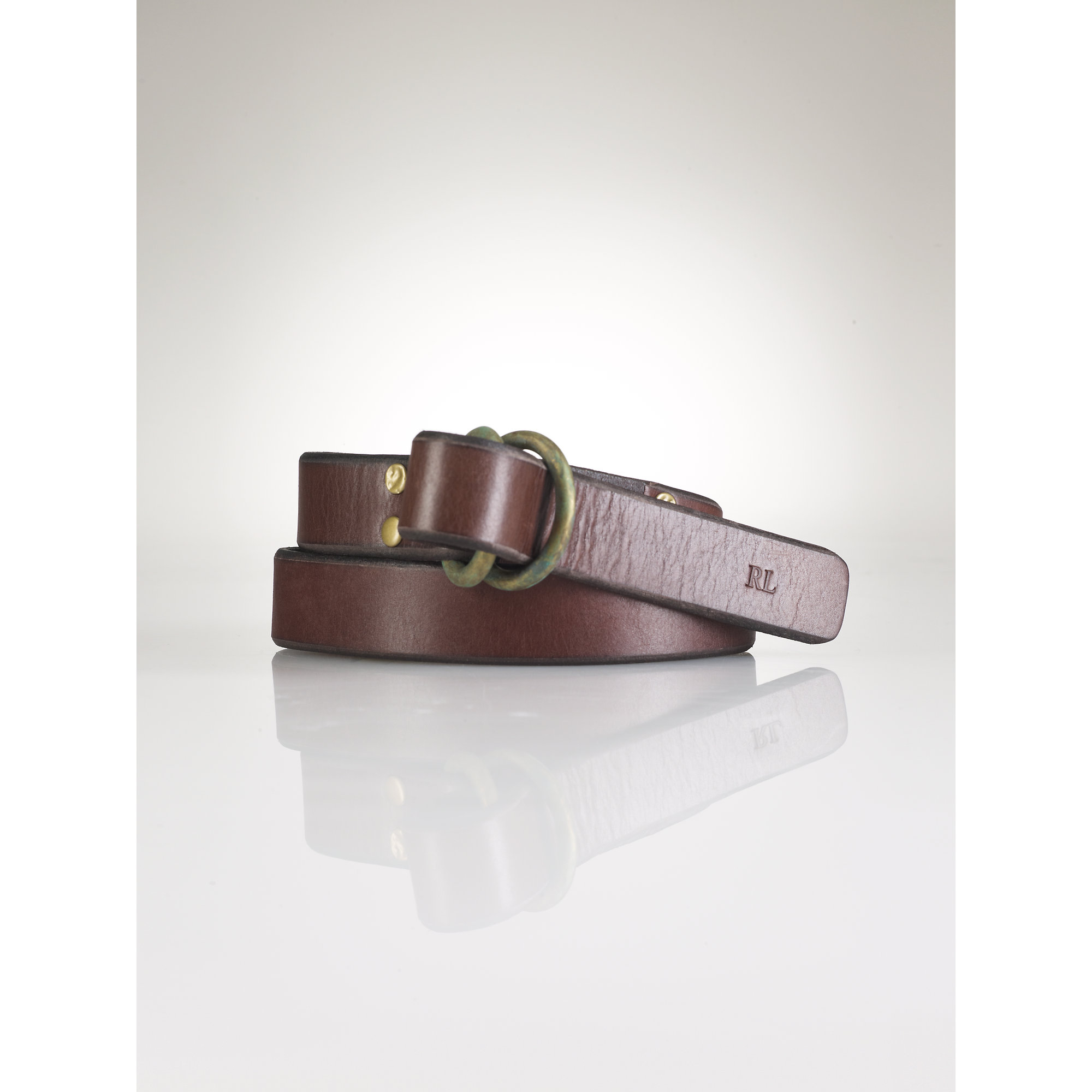 polo ralph leather o ring belt in brown for lyst
