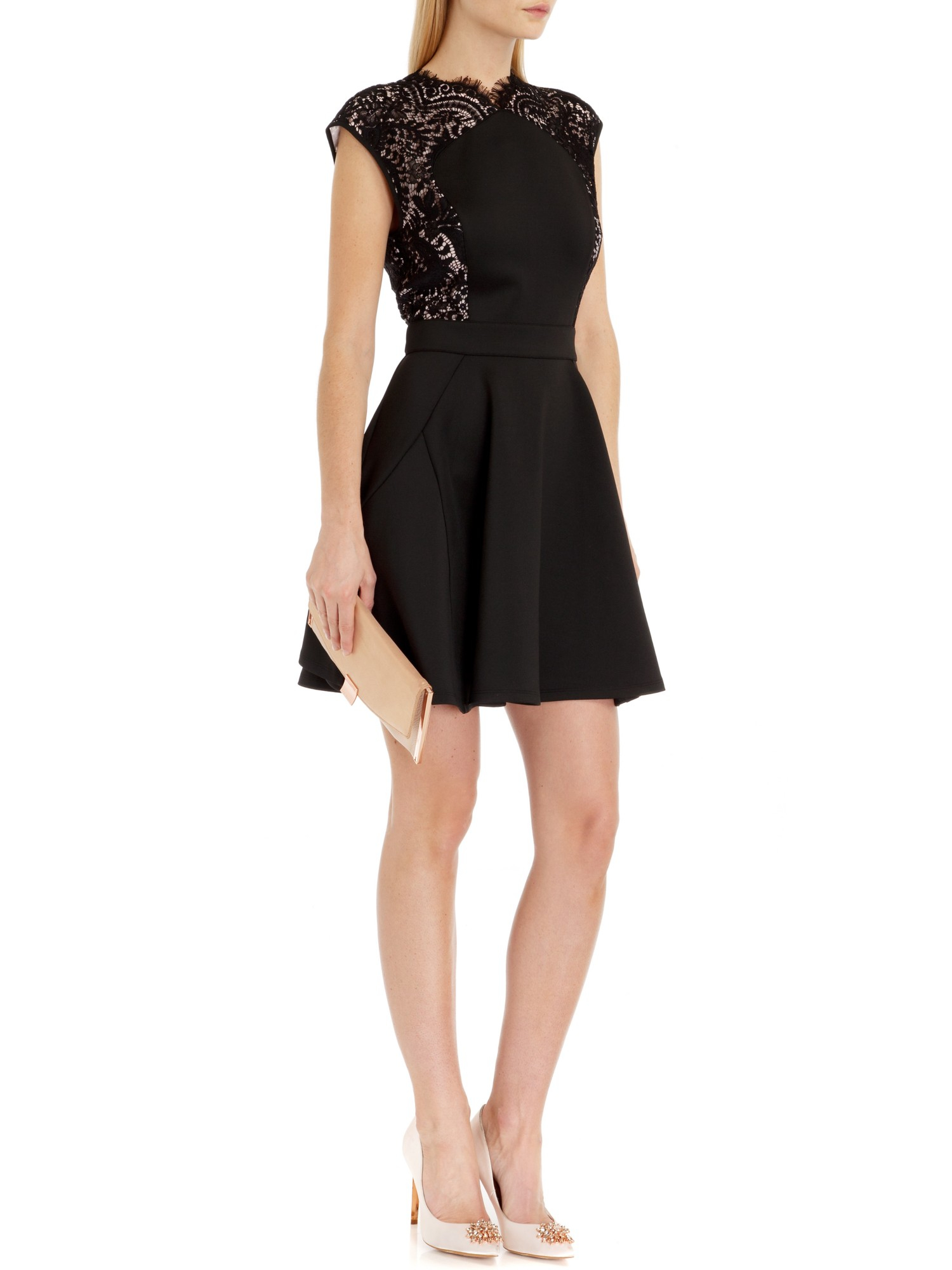 Ted Baker Vivace Lace Panel Dress In Black Lyst