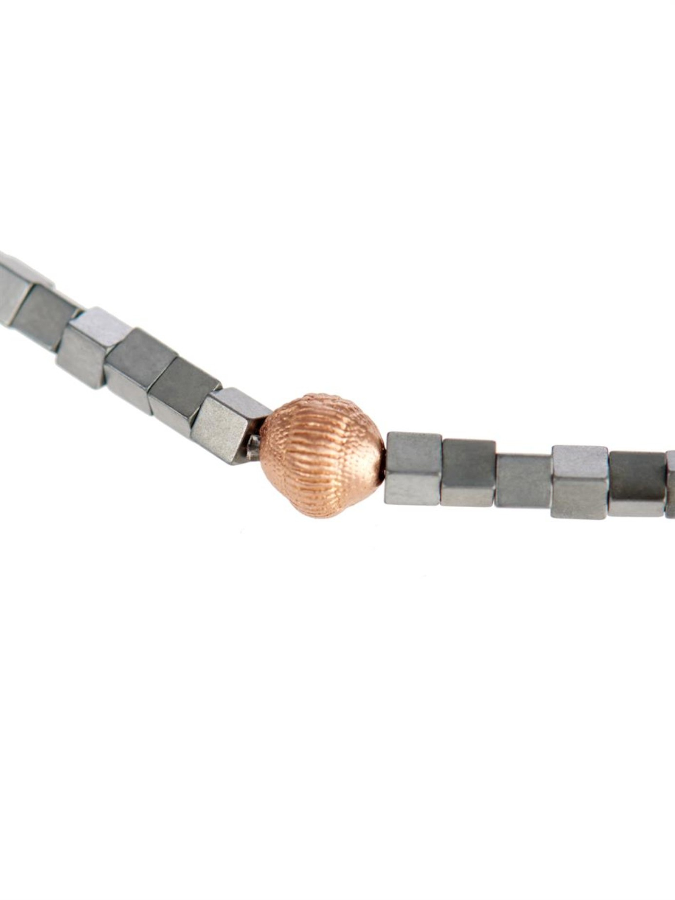 Luis Morais Rose Gold And Square Bead Bracelet In Gray For