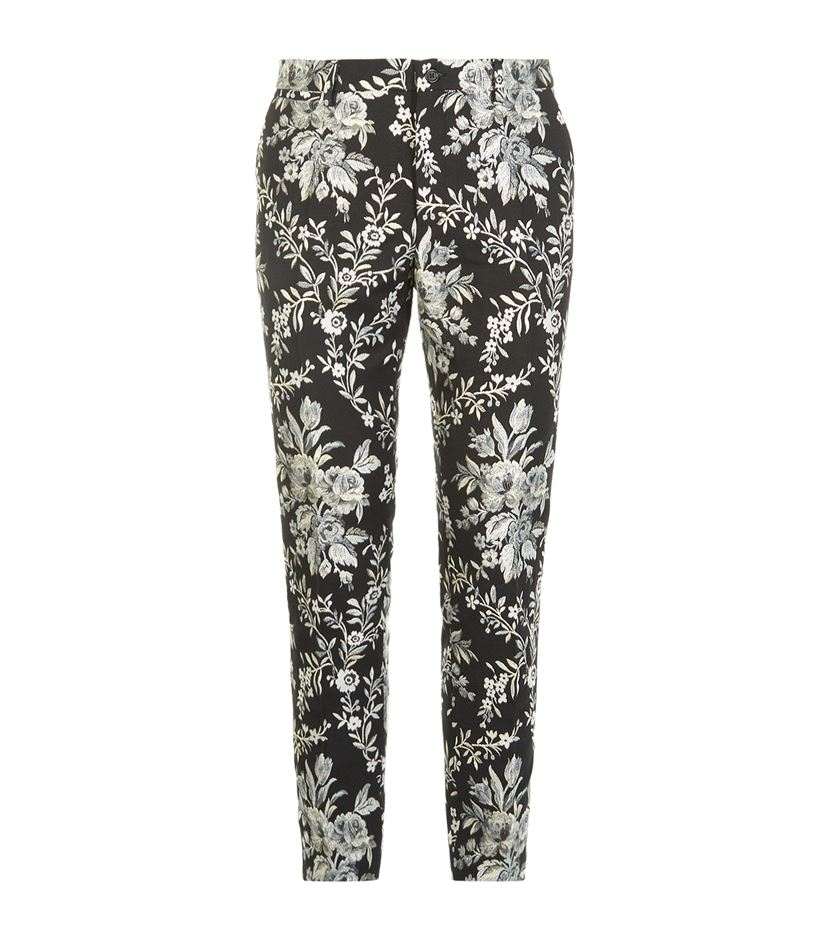 Dolce Gabbana Floral Brocade Trousers In Gray For Men Lyst