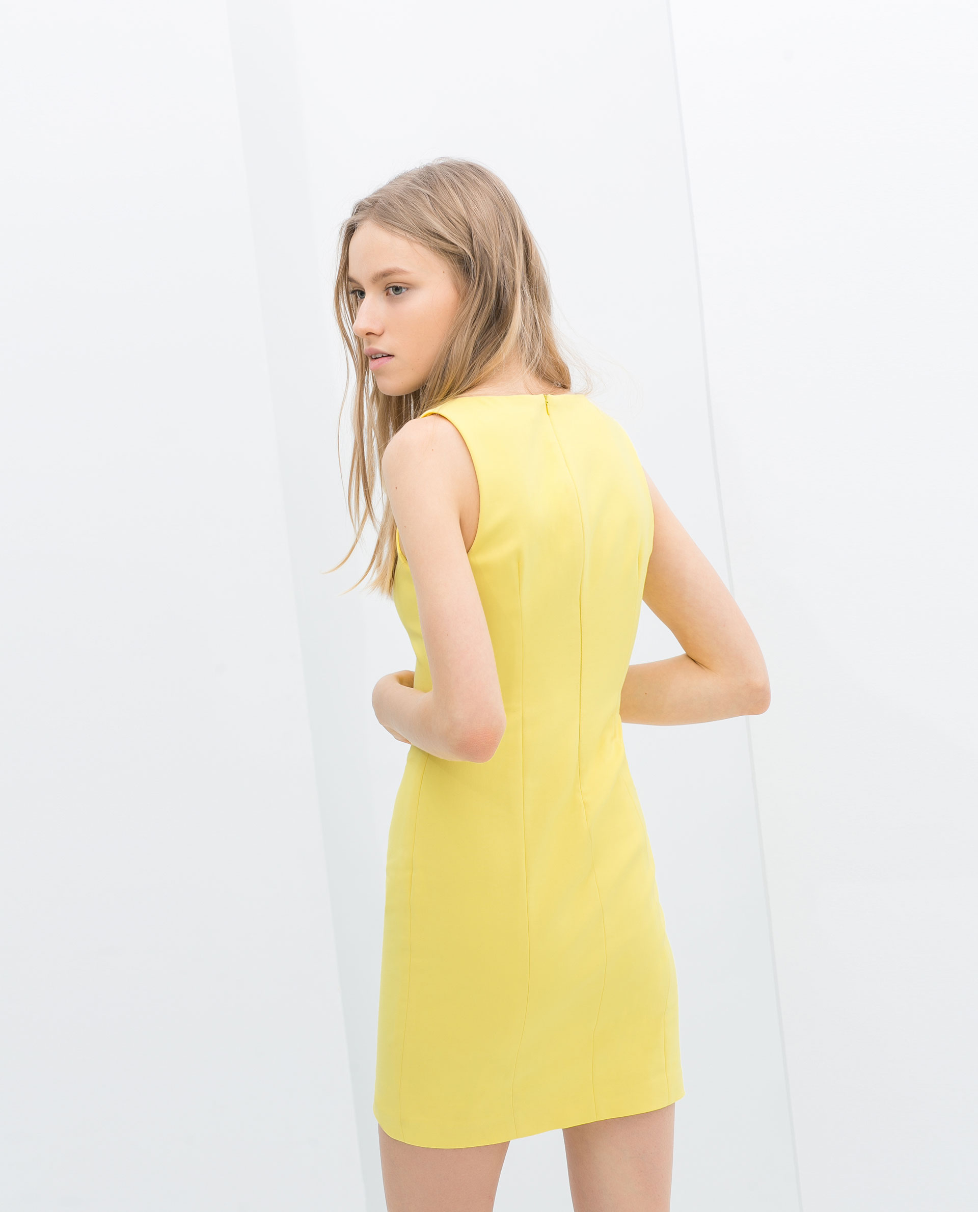 Zara Vneck Dress in Yellow   Lyst