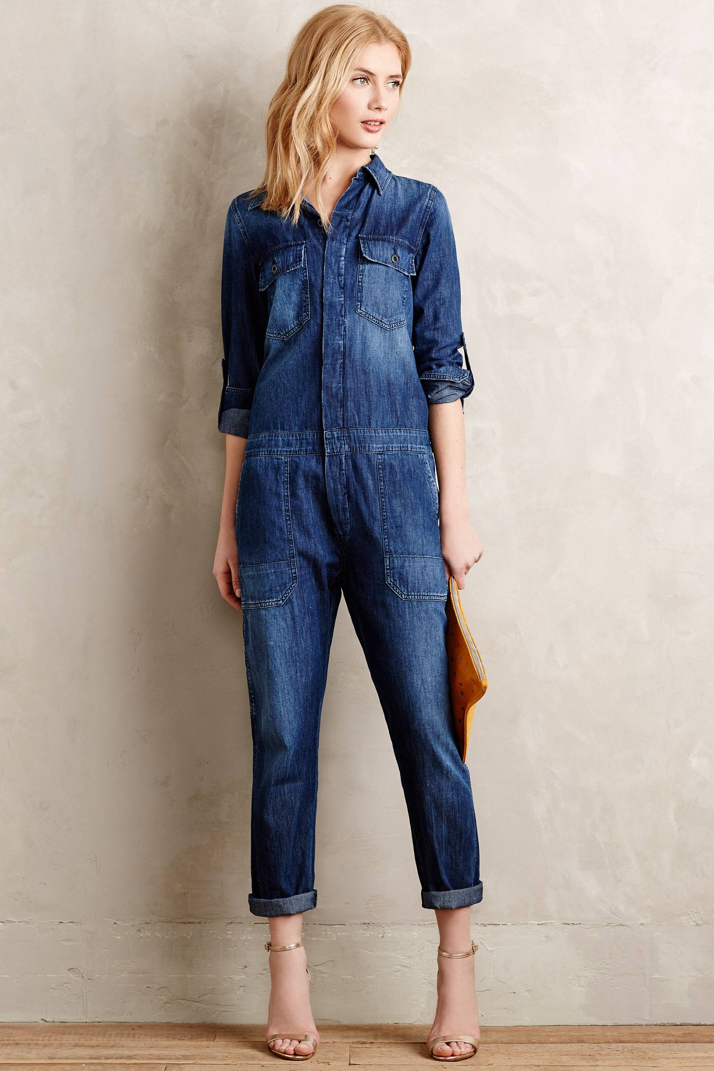 citizens of humanity tallulah jumpsuit in blue lyst. Black Bedroom Furniture Sets. Home Design Ideas