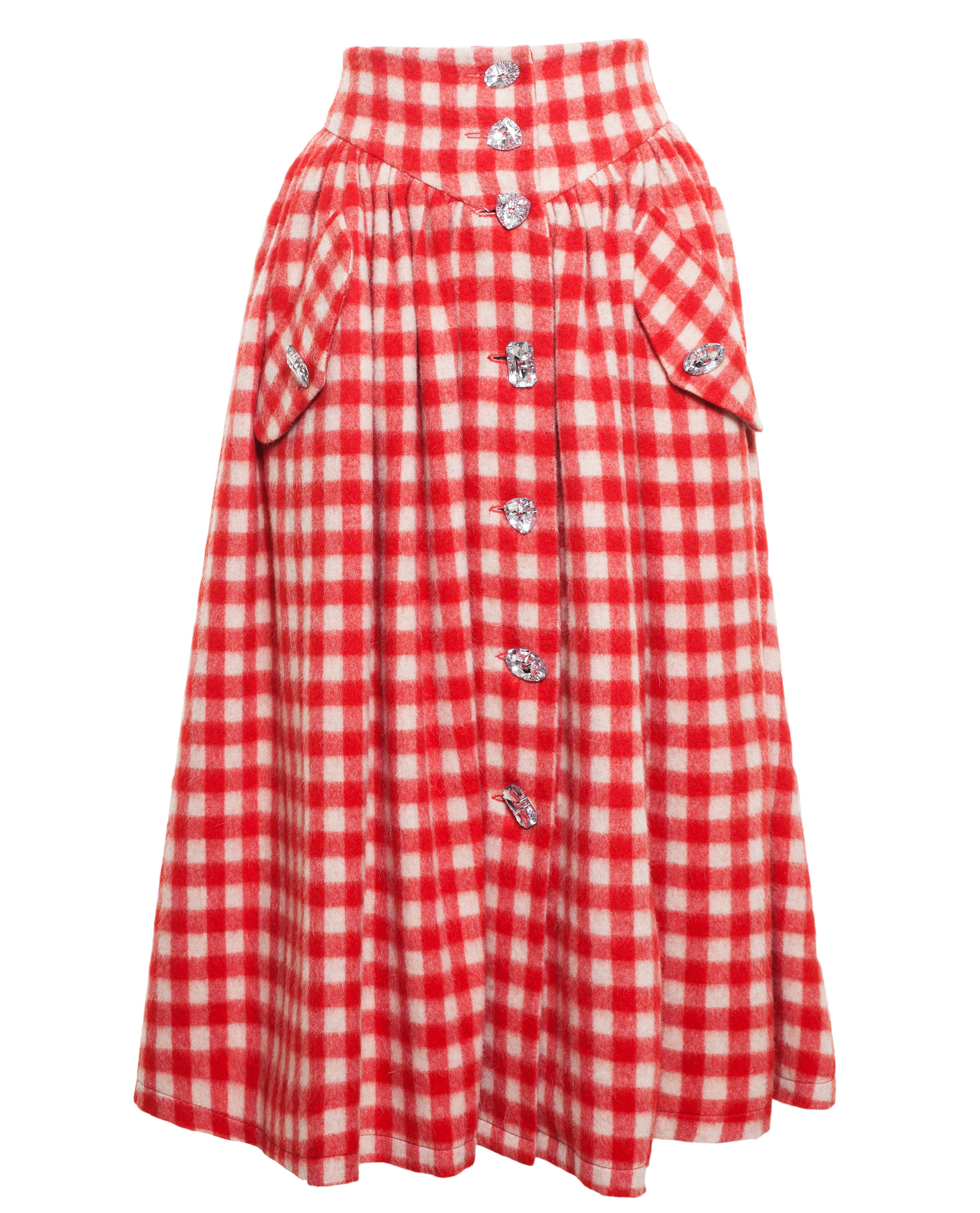 Awake Gingham Skirt With Crystals In Red Lyst