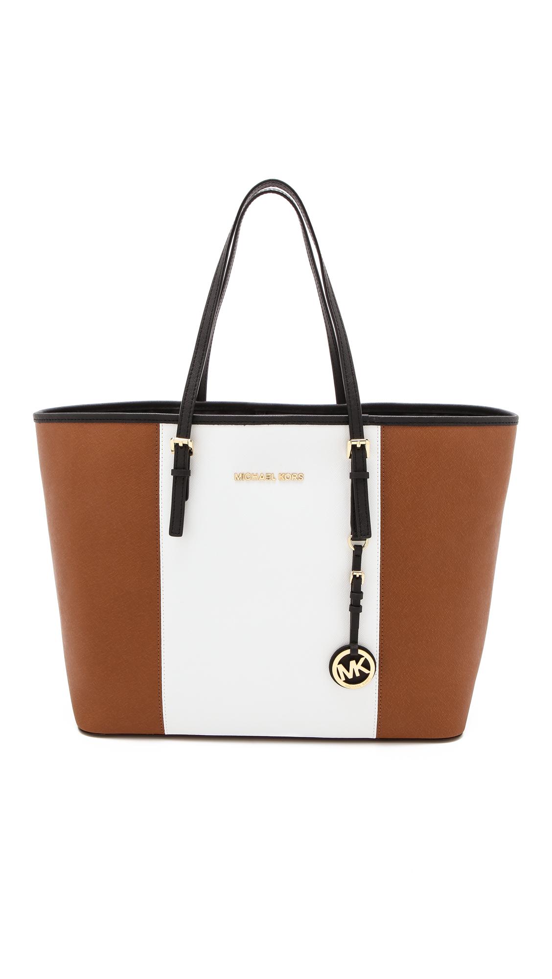 michael michael kors jet set travel travel tote luggage white black in brown luggage white. Black Bedroom Furniture Sets. Home Design Ideas
