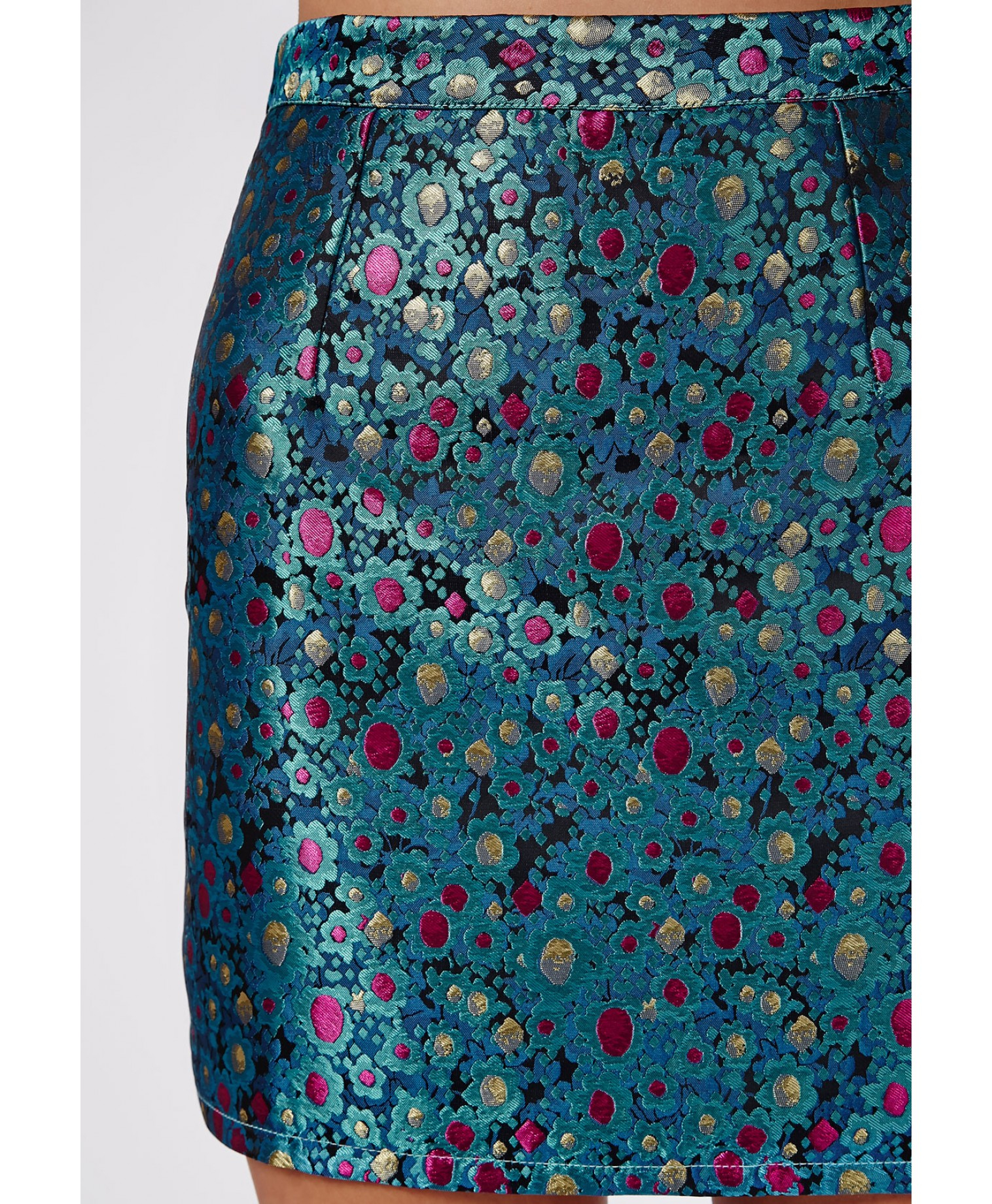 missguided metallic printed a line skirt teal in teal lyst