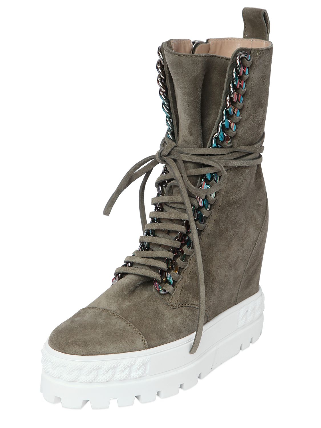 Casadei 110mm Suede Wedge Sneakers W/ Chain Trim in Khaki (Natural)