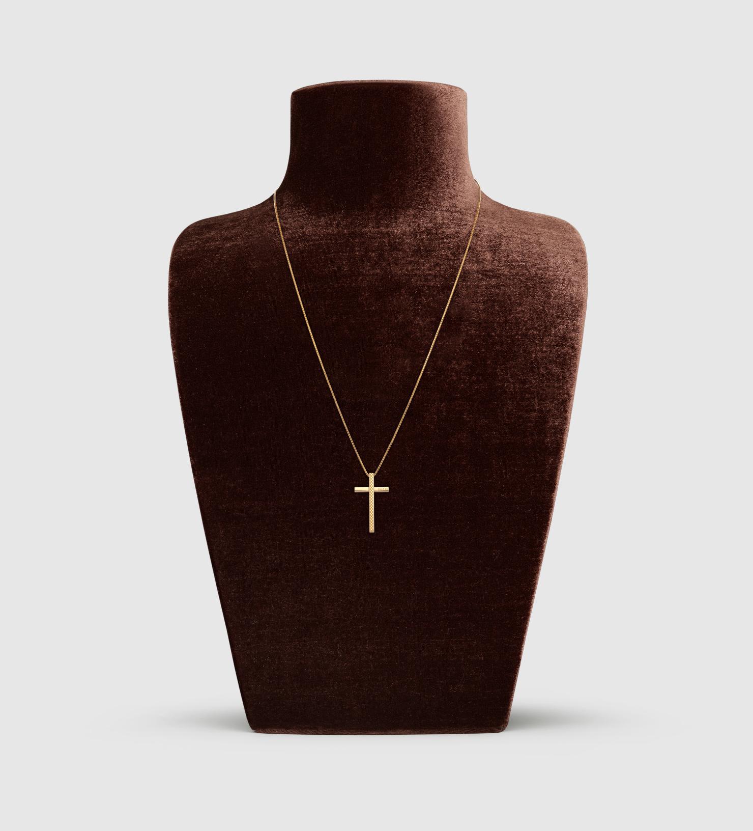 69ac8f582c Gucci Metallic Diamantissima Necklace With Cross Pendant