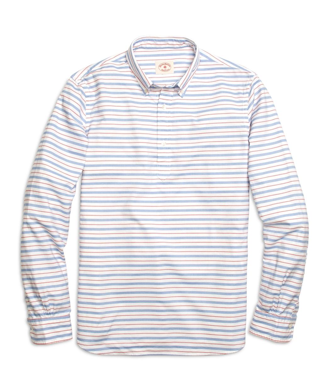 Brooks brothers horizontal stripe popover sport shirt in for Horizontal striped dress shirts men