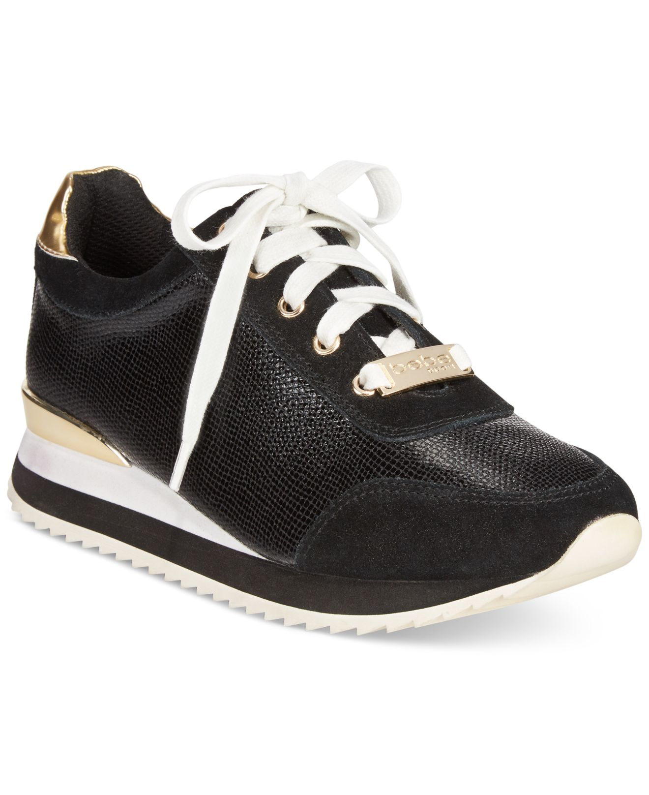 bebe sport corine demi wedge jogger sneakers in black lyst