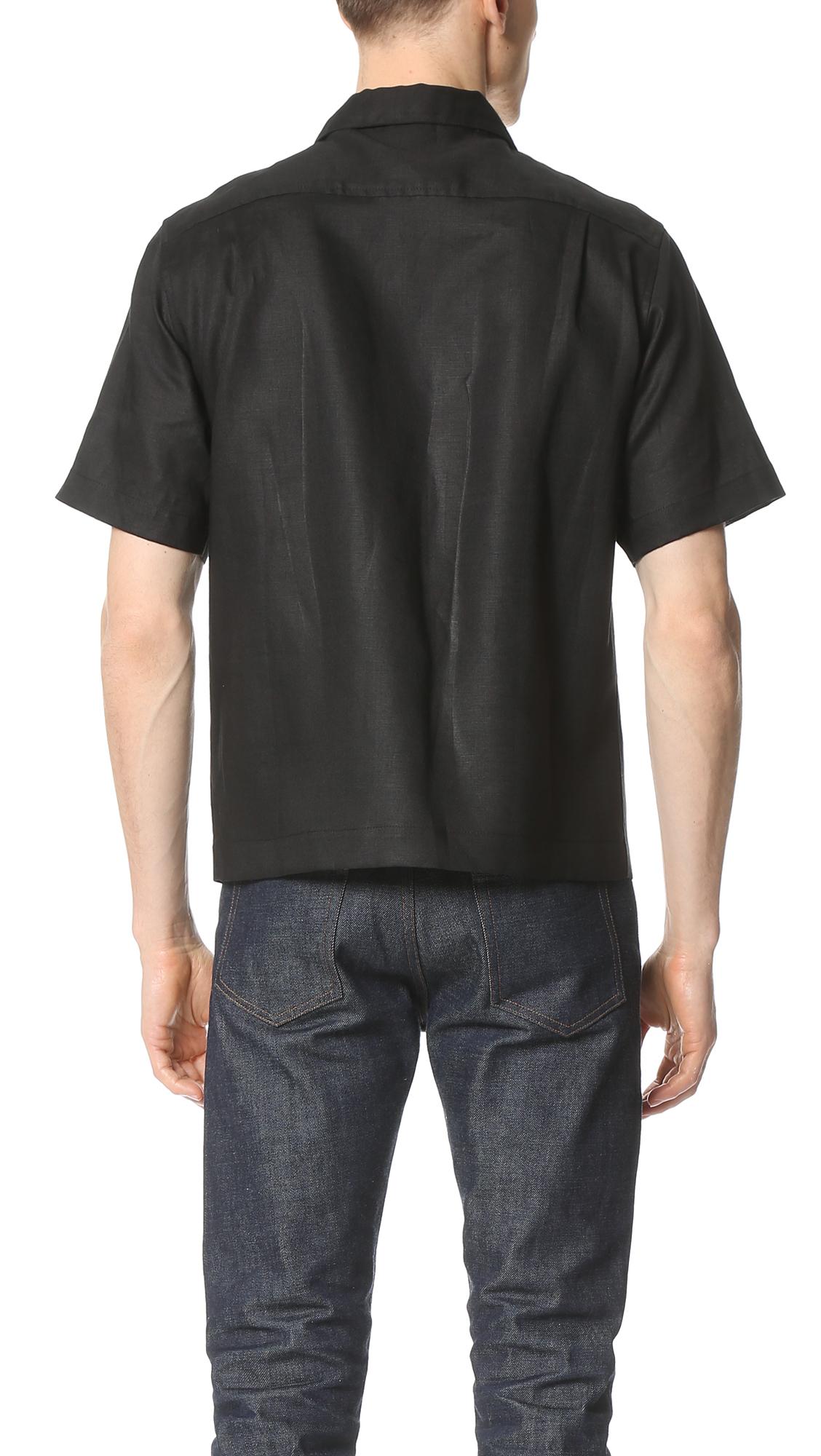 Fanmail Linen Uniform Shirt in Black for Men | Lyst