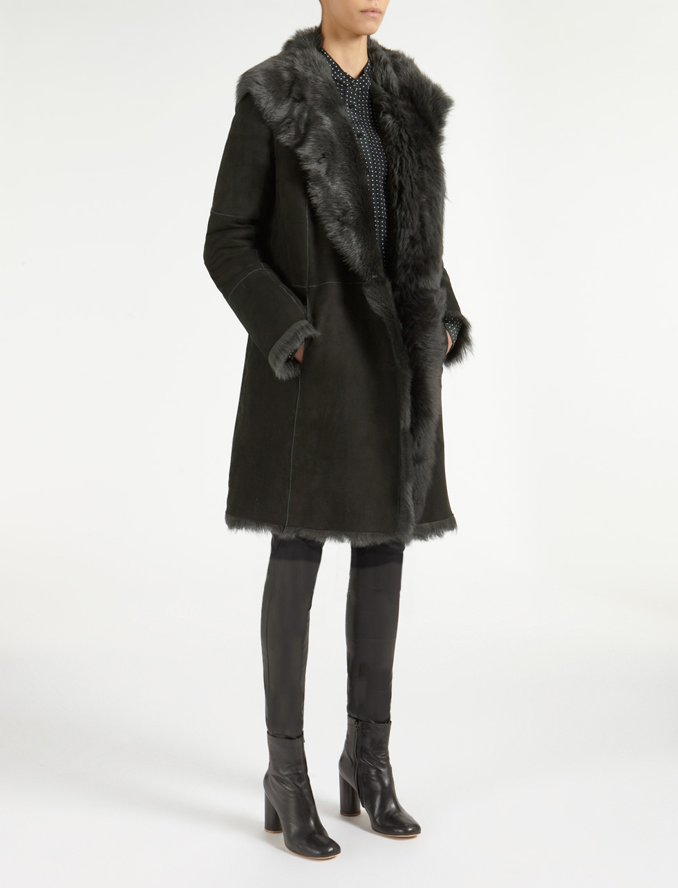 Joseph Toscana Anais Sheepskin Coat in Green | Lyst
