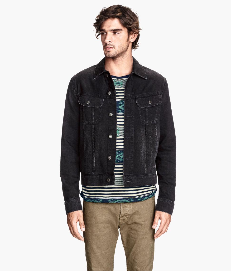 Hu0026m Denim Jacket in Black for Men | Lyst