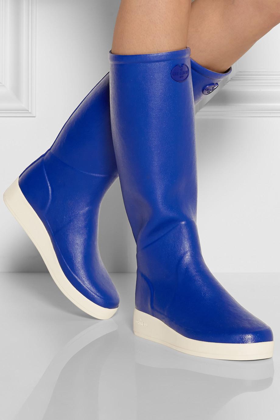 Lyst Le Chameau Paris Rubber Boots In Blue