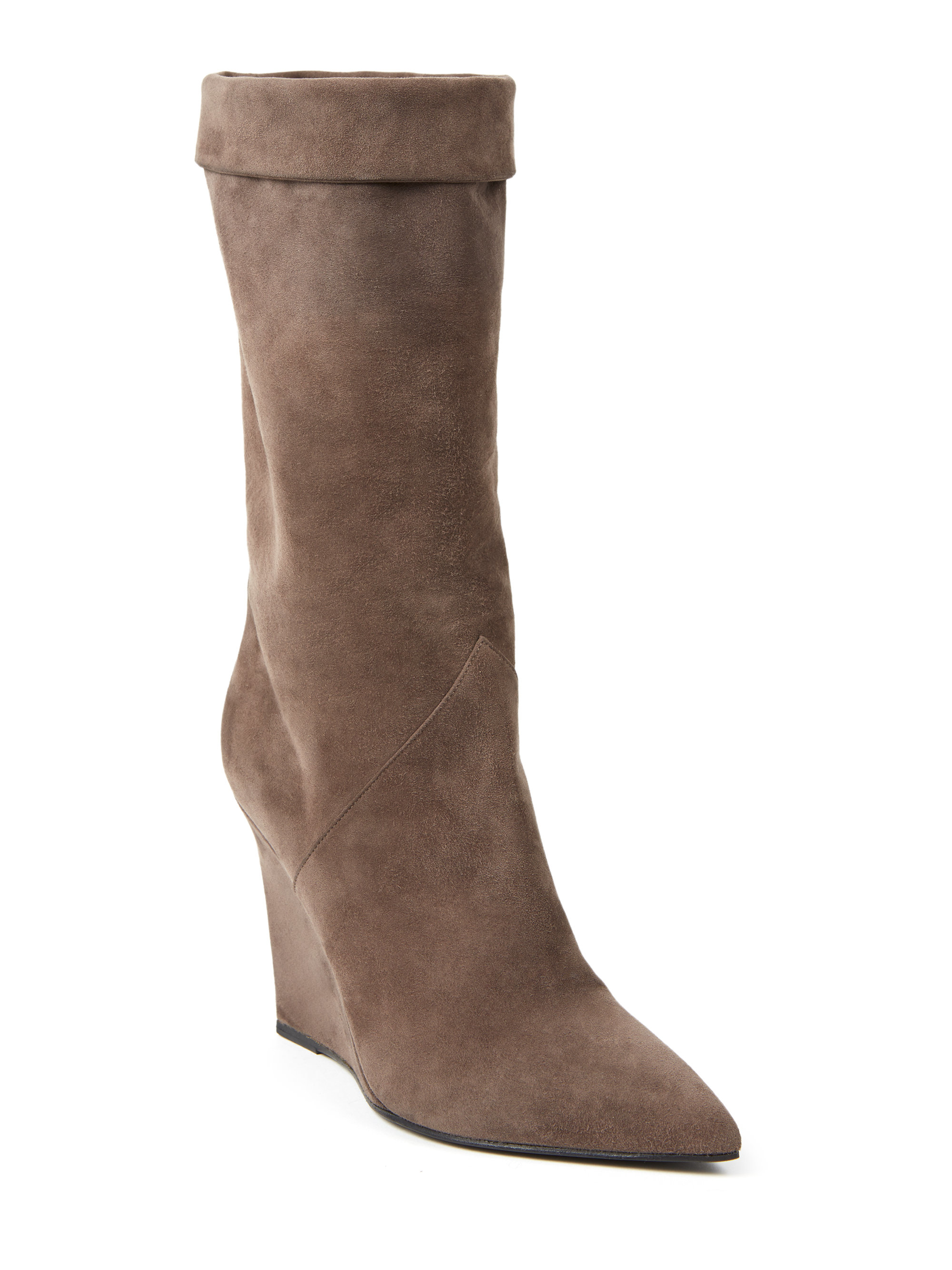 laurent suede mid calf wedge boots in gray lyst