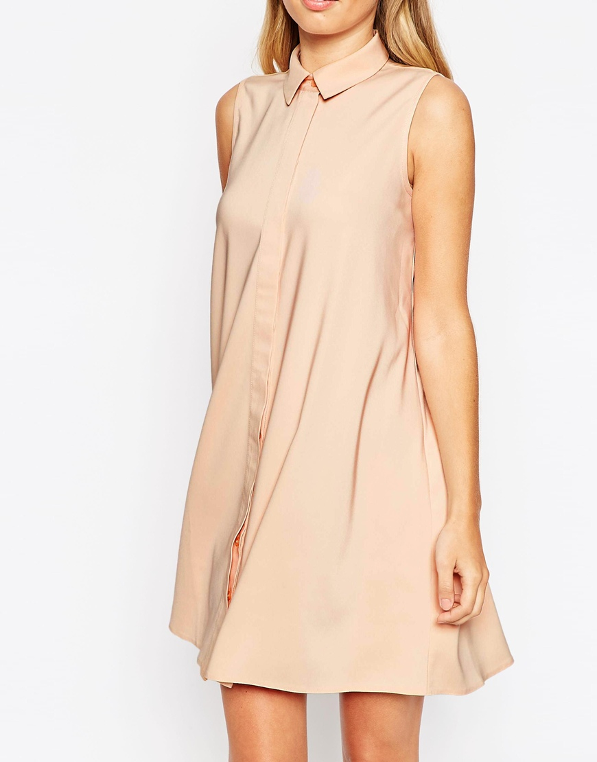 Lyst asos tall sleeveless shirt dress in natural for Tall size dress shirts
