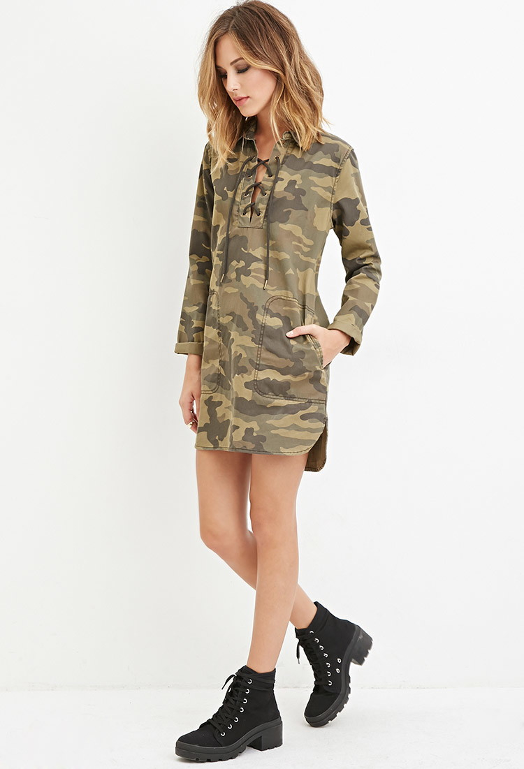 Forever 21 camo print collared dress in green lyst for Green camo shirt outfit