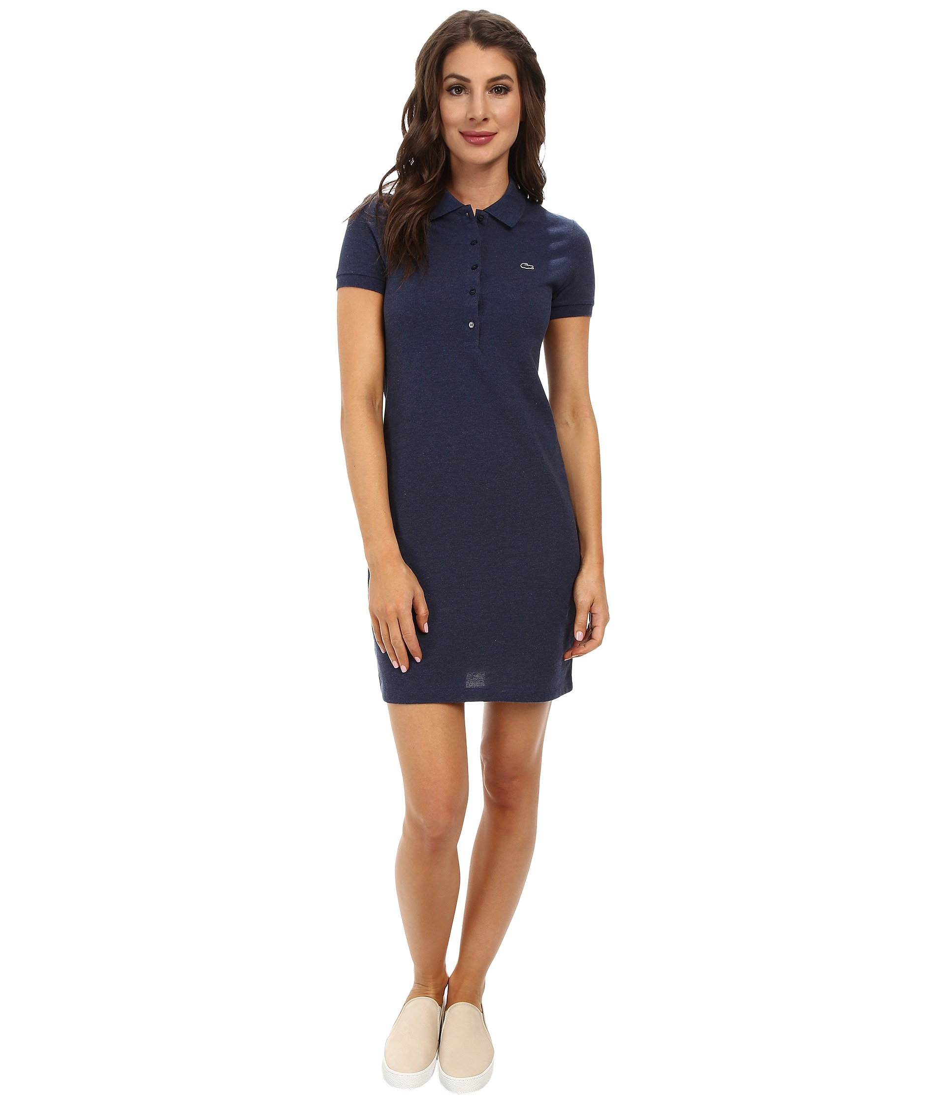 This girls' light blue short-sleeve polo dress is crafted in pure cotton pique with a contrast rib collar with a slightly scalloped edge. ImportedPrice: $