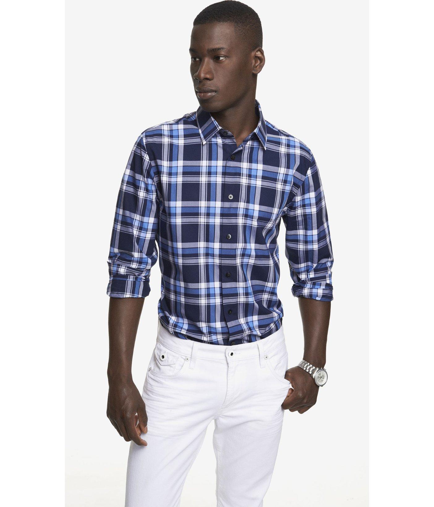 Express modern fit plaid dress shirt in blue for men for Modern fit dress shirt