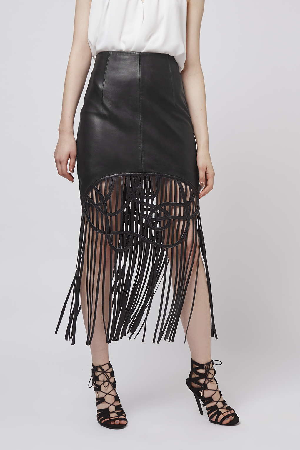 topshop leather midi skirt in black lyst