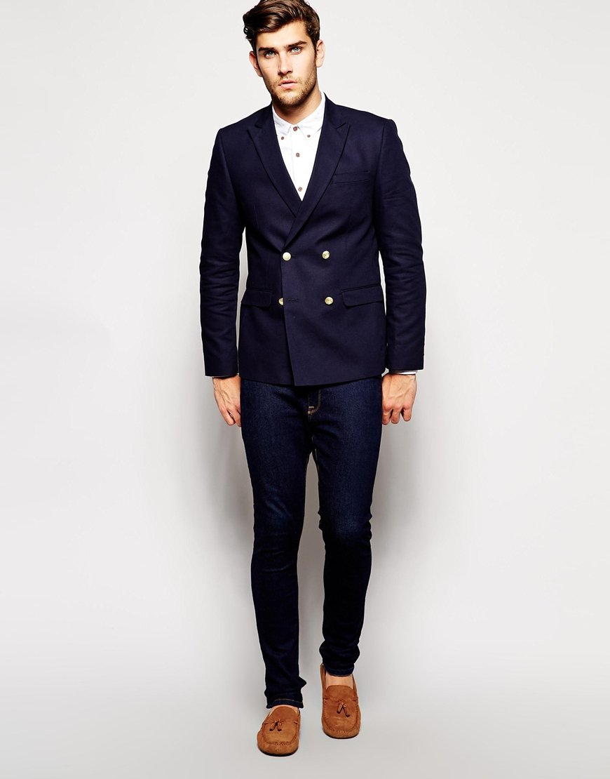 ASOS Blue Slim Fit Double Breasted Blazer With Gold Buttons for men