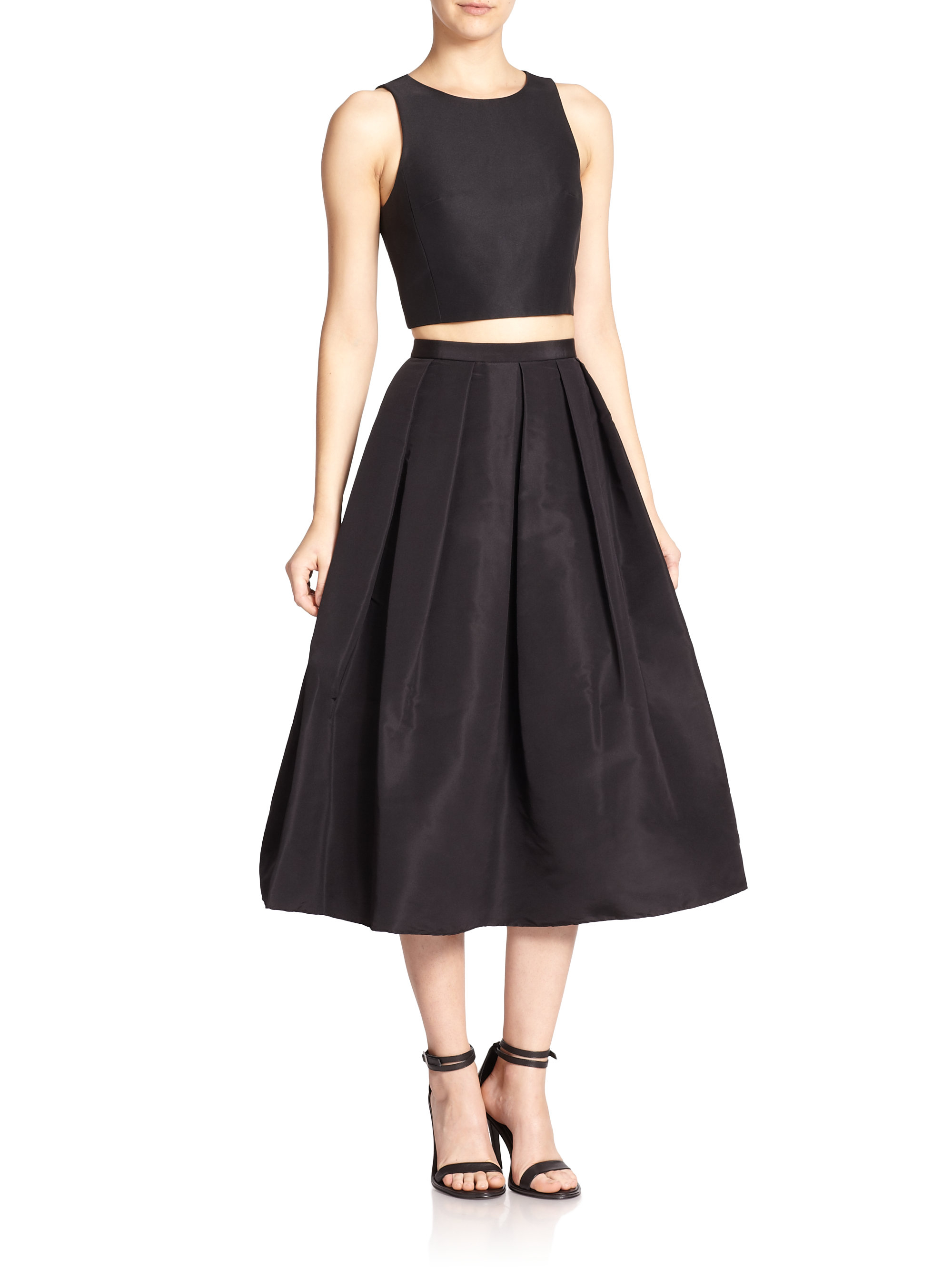tibi silk faille pleated a line skirt in black lyst