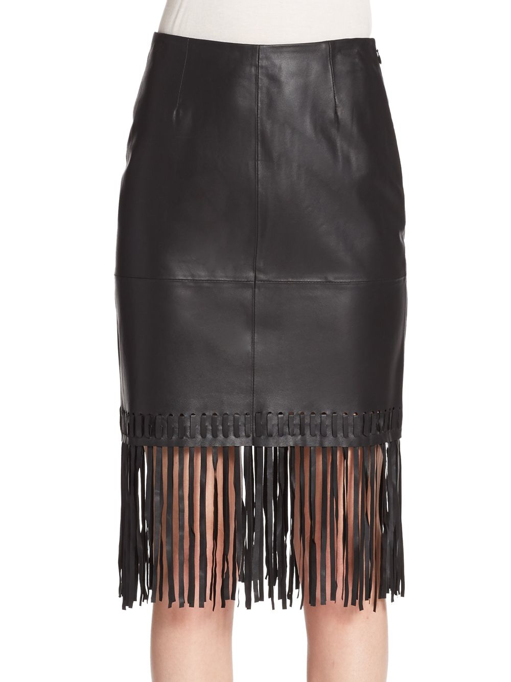 We started with a classic skirt silhouette and made it more fabulous with the swingy style of on-trend fringe. Pull-on styling with elastic waistband. Crafted with a hint of stretch for a smooth fit. Length: 21