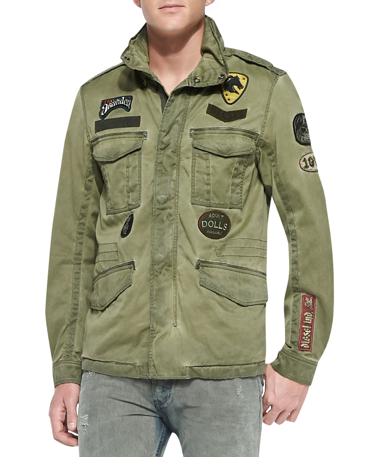 Lyst Diesel J Amma Military Jacket W Patches In Green