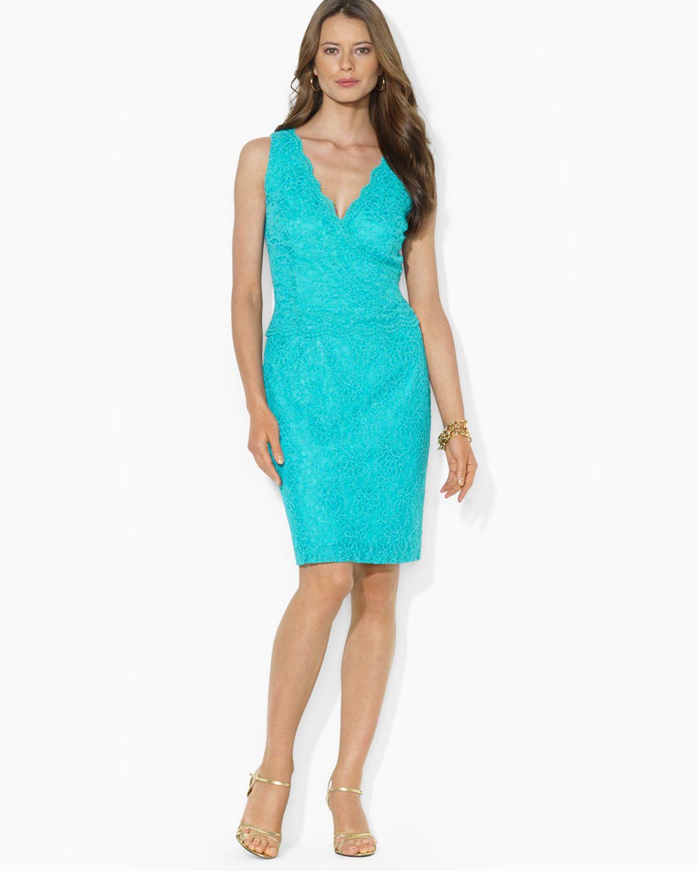 Green V-Neck Lace Dress