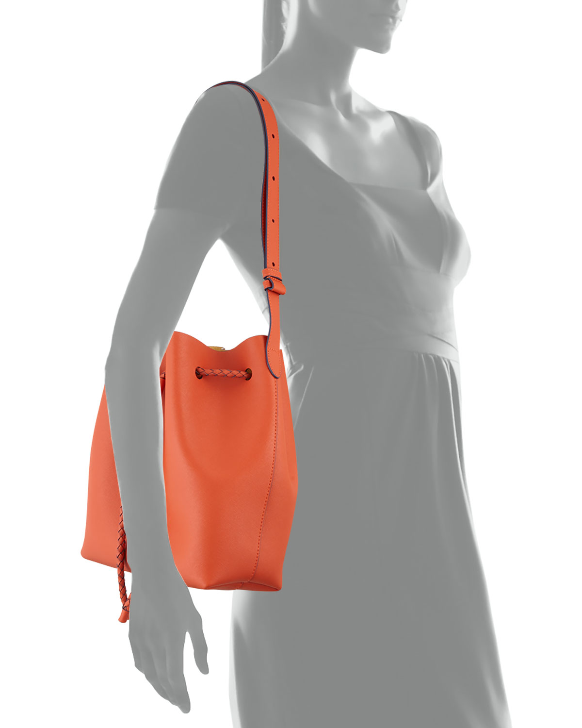 Elaine Turner The Reserve Saffiano Bucket Bag In White Lyst