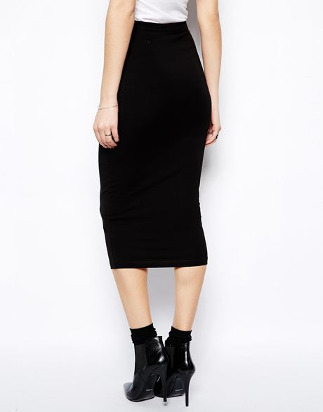 asos midi pencil skirt in jersey in black lyst