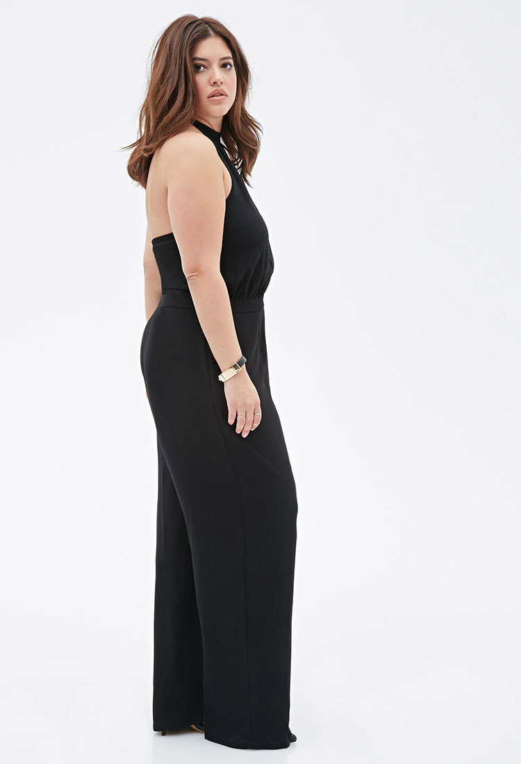 98d1b4f38e8 Lyst - Forever 21 Plus Size Halter Keyhole Jumpsuit You ve Been ...