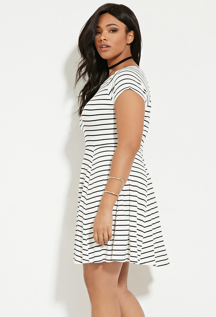 Lyst - Forever 21 Plus Size Stripe Smock Dress in White