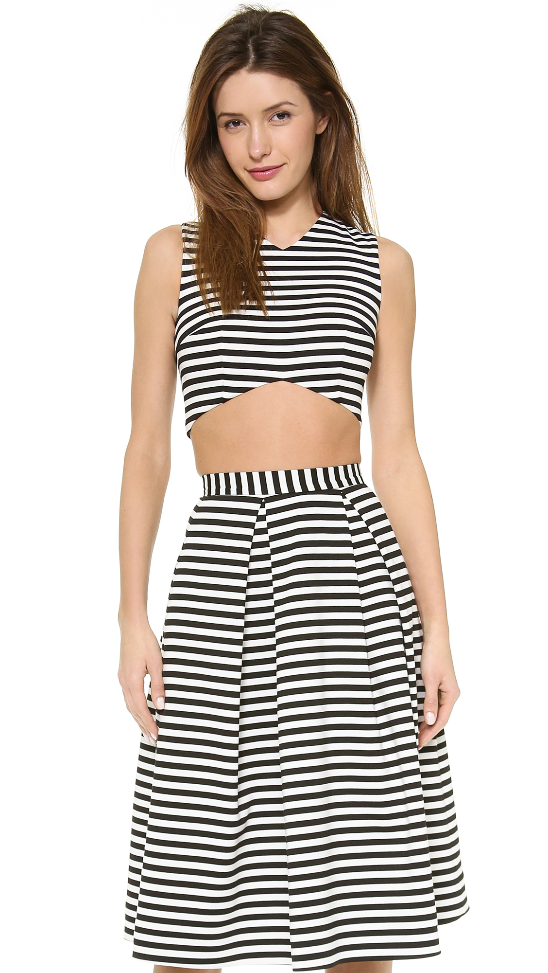 black white striped sports style on trend strapless bandeau top tee tshirt shirt bralet bralette crop top. literally goes with any outfit!