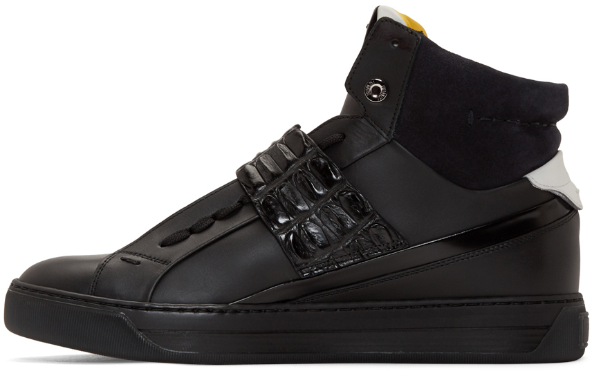 53dbd1fba1 Fendi Black Leather And Croc High-top Sneakers for men