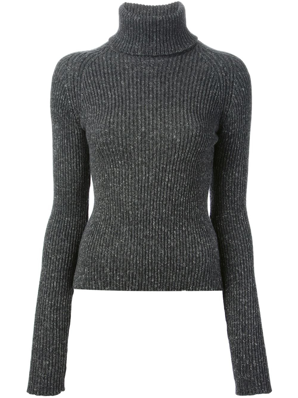 Anthony vaccarello Ribbed Turtleneck Sweater in Gray | Lyst