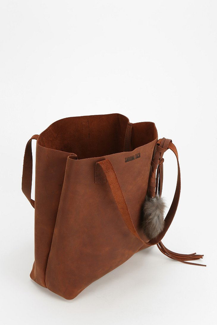 Sabrina tach Leather Tote Bag in Brown | Lyst