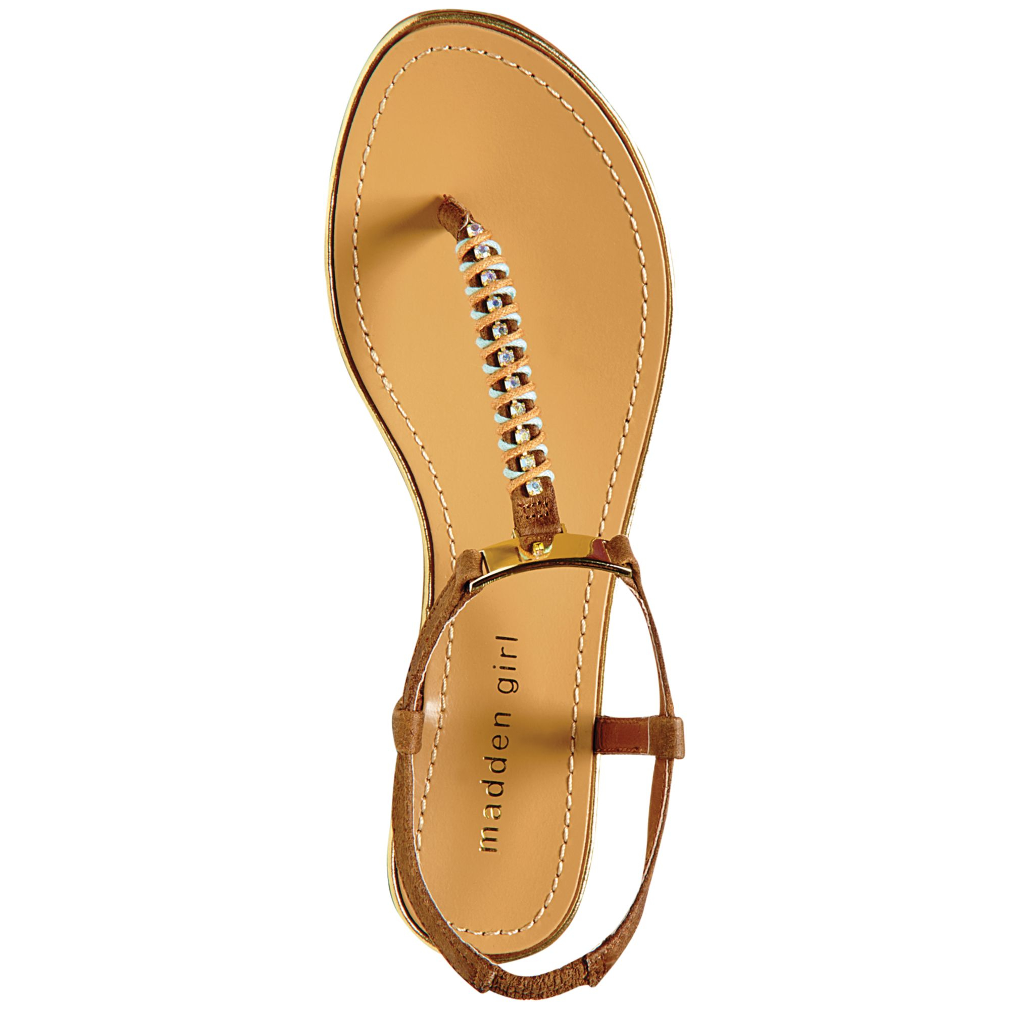 654c3a78c7cf Lyst - Madden Girl Mellowed Jeweled Thong Sandals in Brown