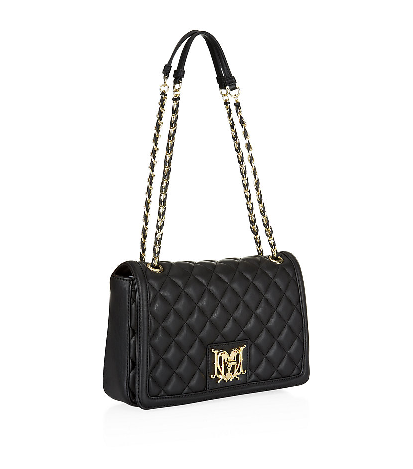 c13ec046e1d6d Love Moschino Medium Super Quilted Flap Bag in Black - Lyst
