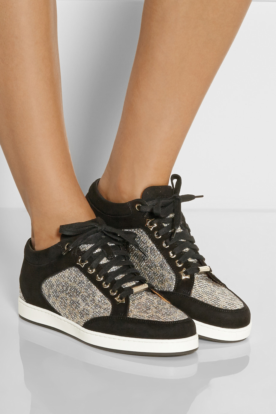 f73bb102bc0b Lyst - Jimmy Choo Miami Lace-Paneled Suede Sneakers in Metallic