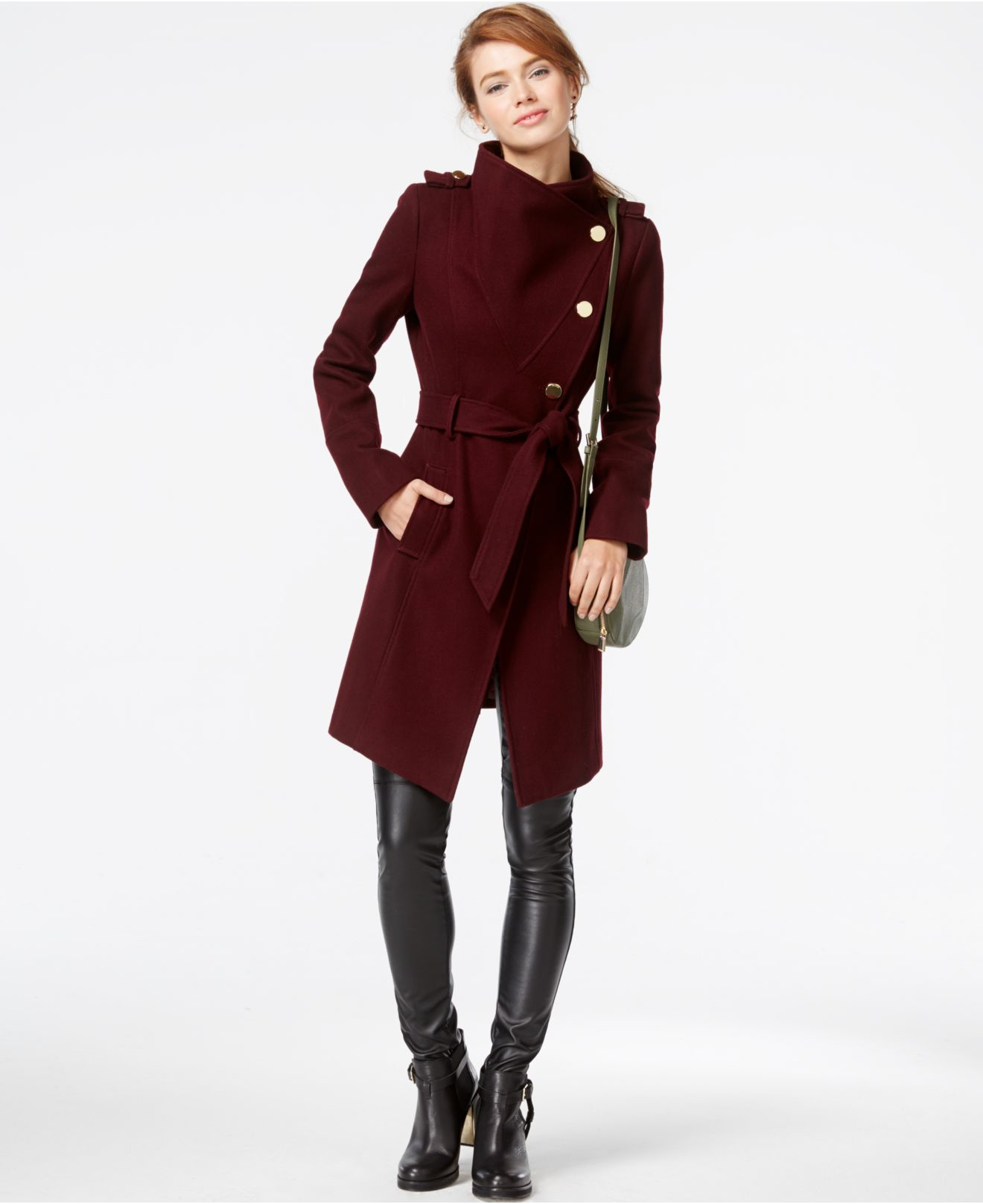 Guess Funnel Collar Asymmetrical Coat In Purple Lyst
