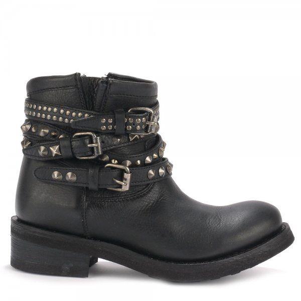 ash tatum leather studded biker boots in black lyst