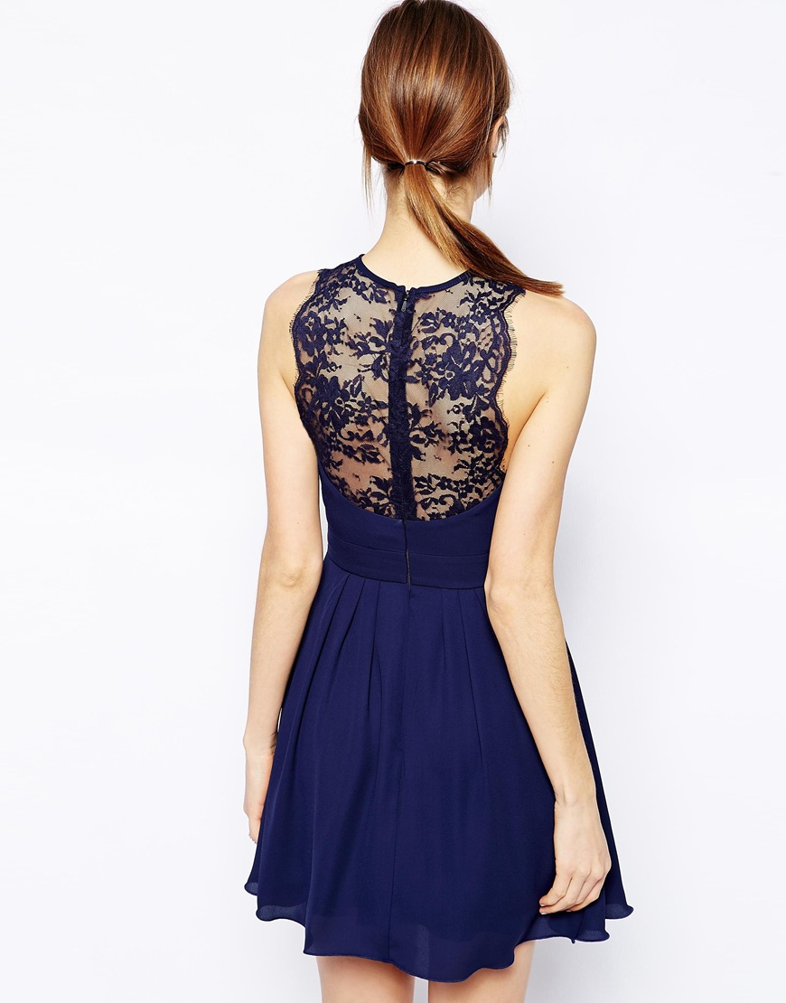 Skater Dress With Scallop Lace Trim