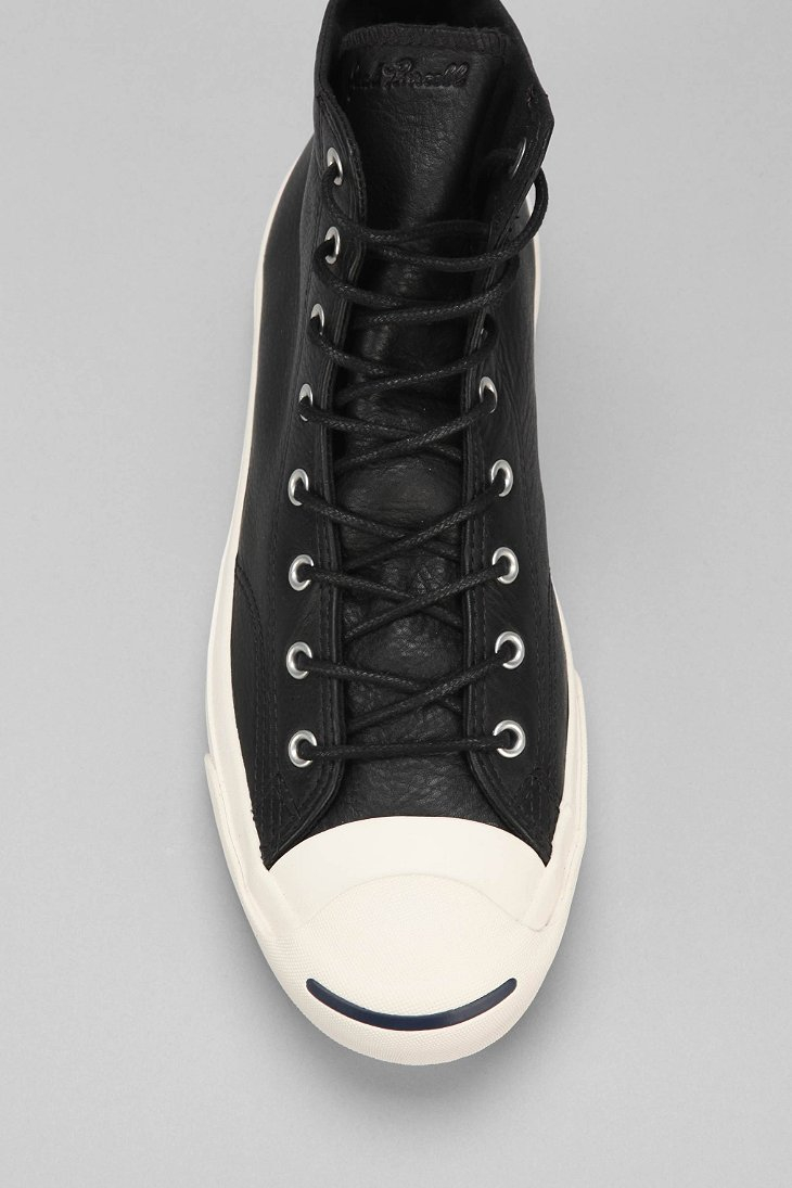 98747f8848f Lyst - Converse Jack Purcell Mid-Top Leather Sneaker in Black for Men