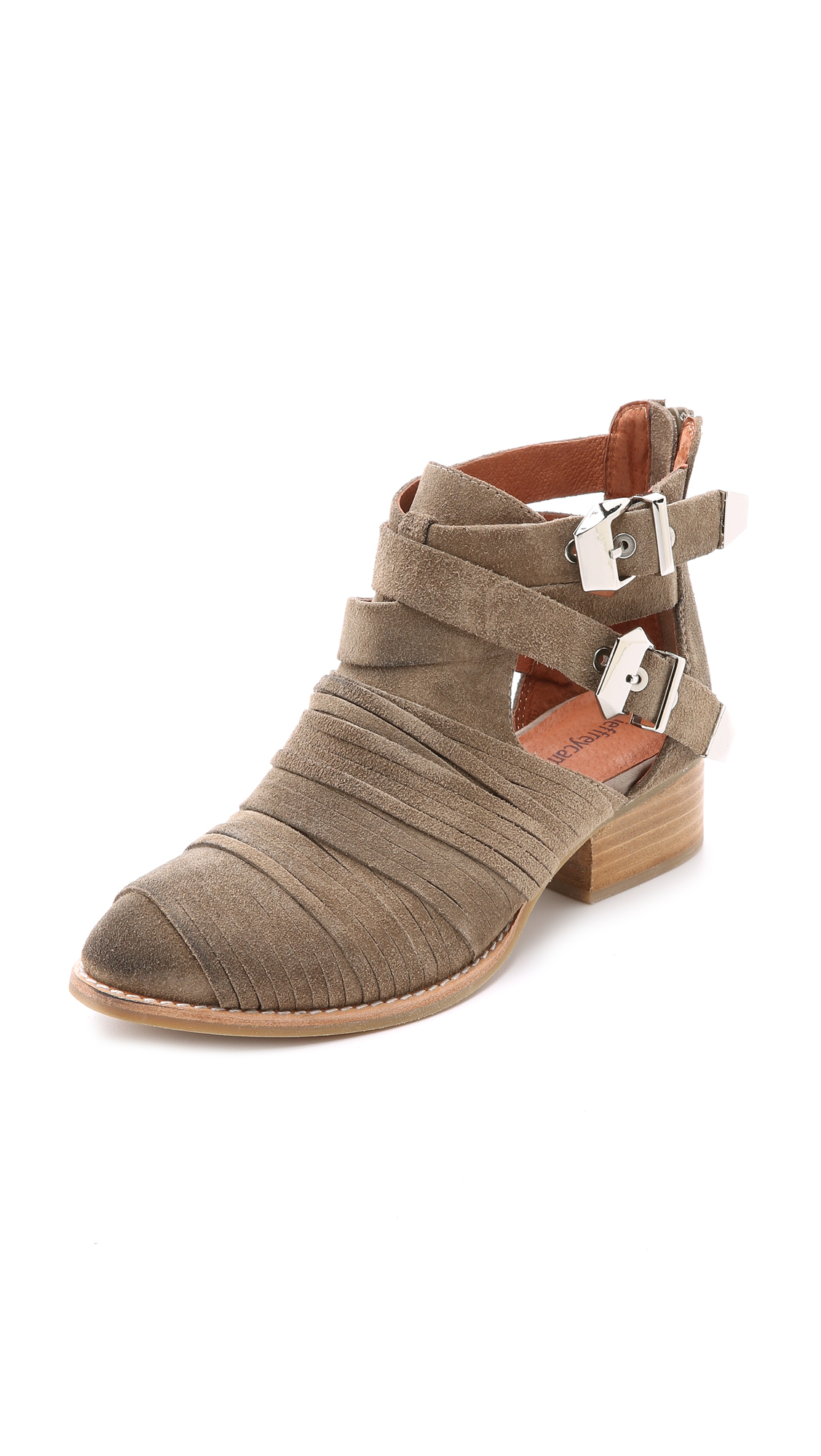 Lyst Jeffrey Campbell Nuestra Suede Booties Taupe In Brown