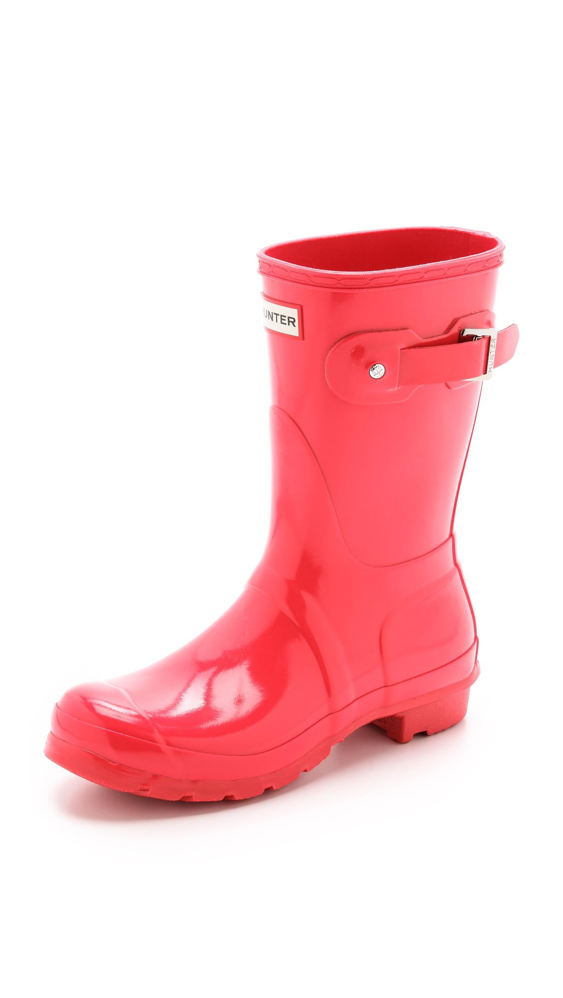 HUNTER Original Short Gloss Boots - Bright Plum in Bright ...