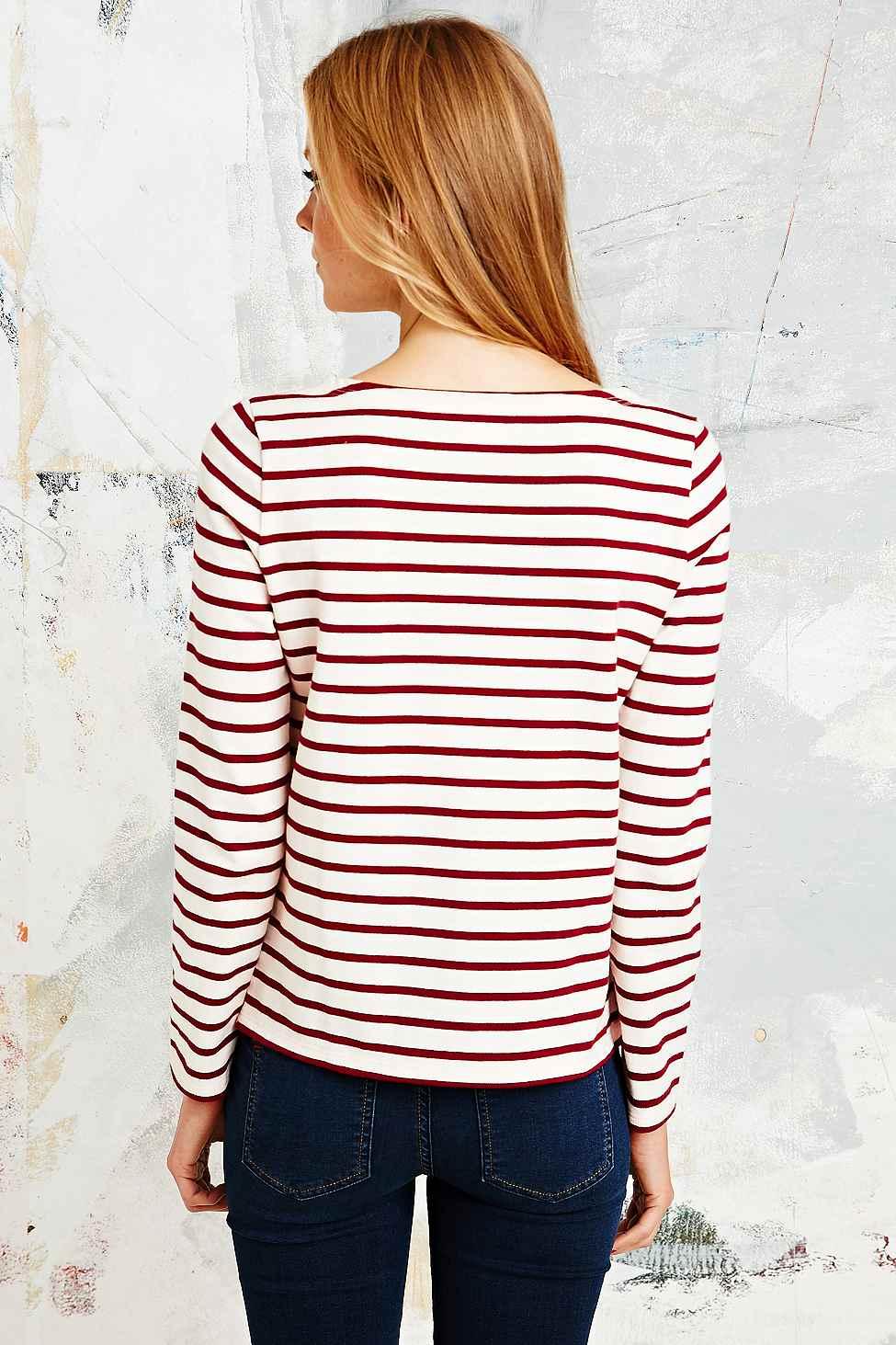 Lyst petit bateau lasso stripe breton in burgundy in red for Petit bateau striped shirt