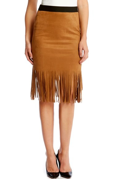 Karen kane Faux Suede Midi Pencil Skirt With Fringe in Brown | Lyst