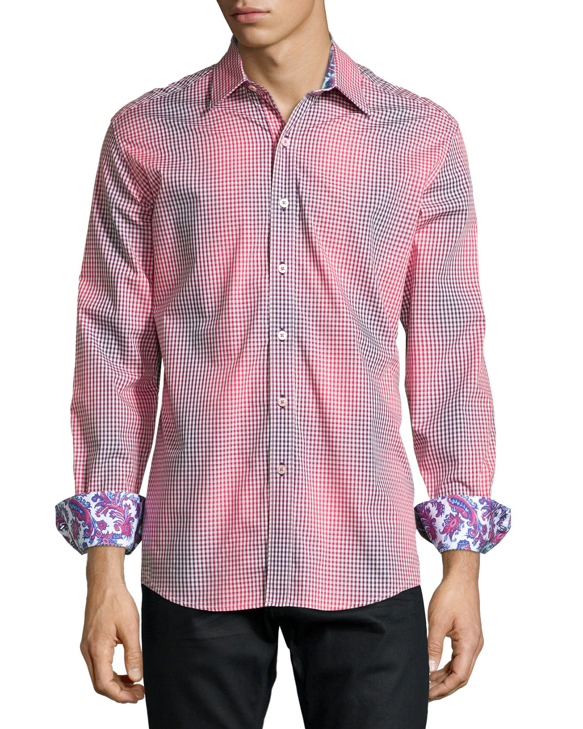 Robert Graham Wick Checked Sport Shirt In Gray For Men Lyst