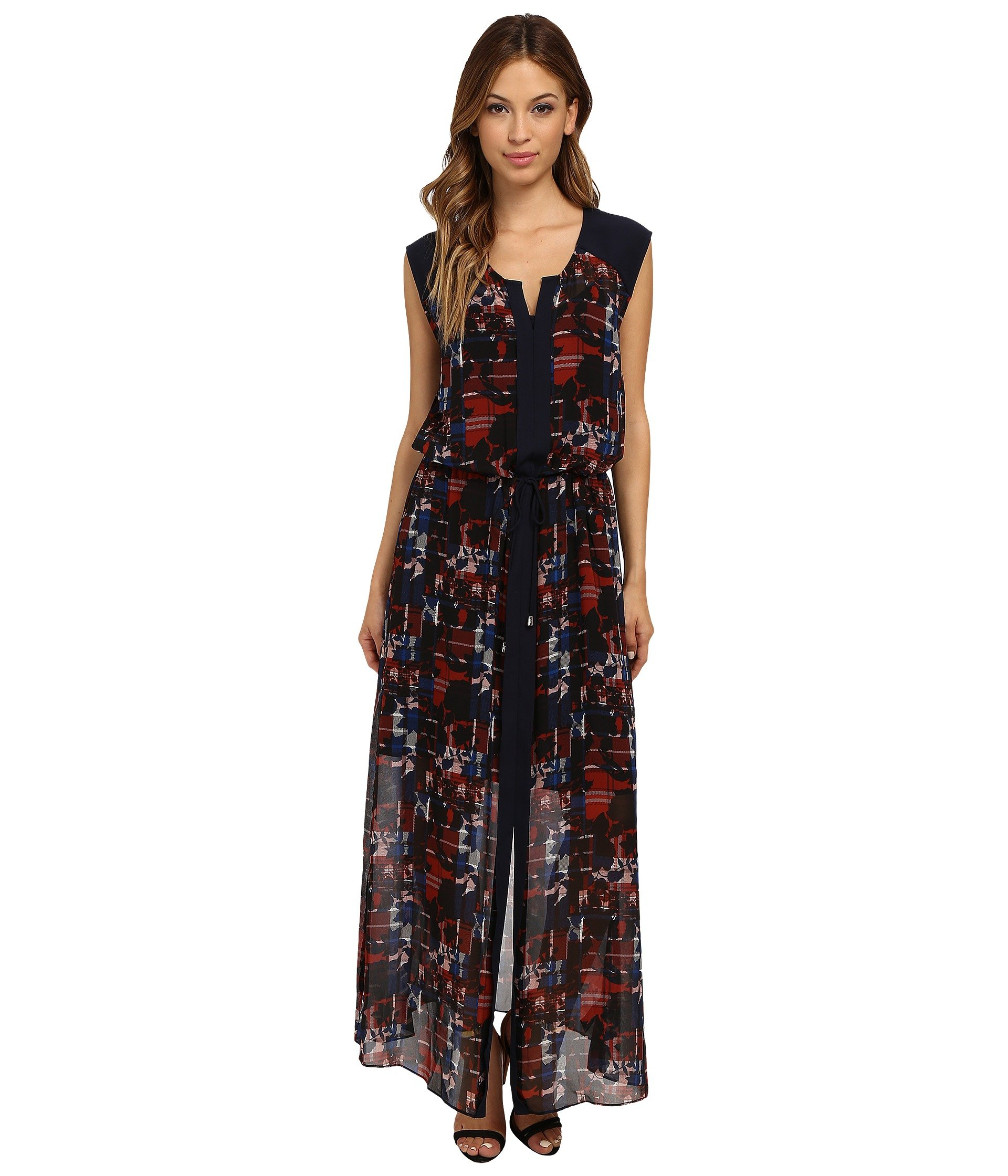 Lyst Vince Camuto Cap Sleeve Floral Plaid Tie Waist Maxi Dress