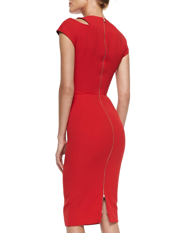 Victoria beckham Cap-sleeve Sheath Dress With Cutout ...